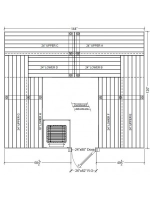 10x12 Clear White Aspen Custom Sauna Kit Layout Shown with RIGHT Hinge Sauna Door
