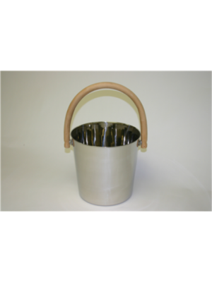 FINO Bucket, 3 Gallon Stainless Steel with Round Wooden Handle