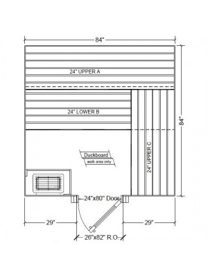 7x7 Clear White Aspen Custom Sauna Kit Layout Shown with RIGHT Hinge Sauna Door