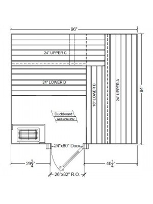 7x8 Clear White Aspen Custom Sauna Kit Layout Shown with RIGHT Hinge Sauna Door