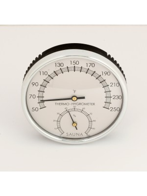 One Dial Stainless Steel Sauna or Steam Room Thermometer / Hygrometer