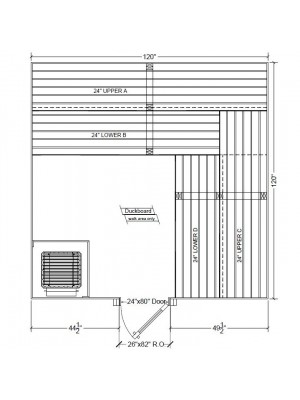 10x10 Clear Western Red Cedar Custom Sauna Kit Layout Shown with RIGHT Hinge Douglass Fir Sauna Door