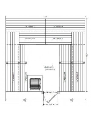 11x12 Clear Western Red Cedar Custom Sauna Kit Layout Shown with RIGHT Hinge Douglass Fir Sauna Door