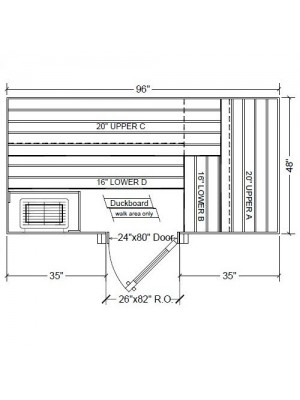 4x8 Clear Western Red Cedar Custom Sauna Kit Layout Shown with RIGHT Hinge Douglass Fir Sauna Door