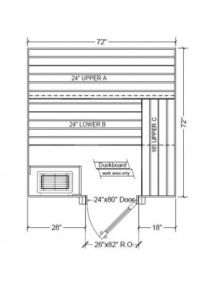 6x6 Clear White Aspen Custom Sauna Kit Layout Shown with RIGHT Hinge Sauna Door