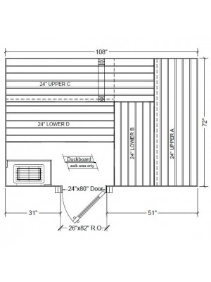 6x9 Clear Western Red Cedar Custom Sauna Kit Layout Shown with RIGHT Hinge Douglass Fir Sauna Door