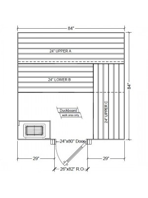 7x7 Clear Western Red Cedar Custom Sauna Kit Layout Shown with RIGHT Hinge Douglass Fir Sauna Door
