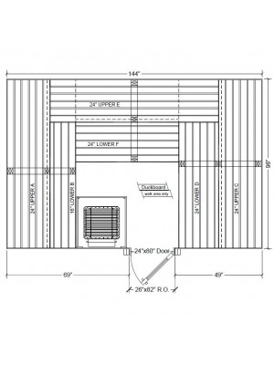 8x12 Clear Western Red Cedar Custom Sauna Kit Layout Shown with RIGHT Hinge Douglass Fir Sauna Door