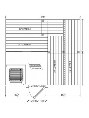 8x9 Clear White Aspen Custom Sauna Kit Layout Shown with RIGHT Hinge Sauna Door