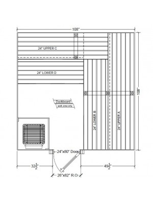 9x9 Clear Western Red Cedar Custom Sauna Kit Layout Shown with RIGHT Hinge Douglass Fir Sauna Door