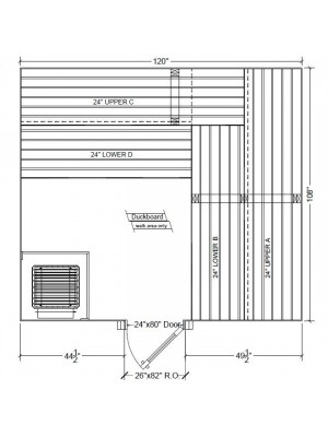 9x10 Clear White Aspen Custom Sauna Kit Layout Shown with RIGHT Hinge Sauna Door