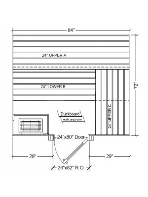 6x7 Clear Western Red Cedar Custom Sauna Kit Layout Shown with RIGHT Hinge Douglass Fir Sauna Door