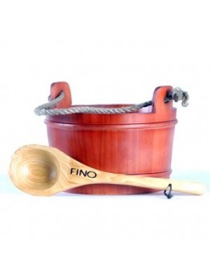 FINO 2 Gallon Finnish Sauna Bucket In Exotic Red Wood Including Extra Large Wooden Ladle