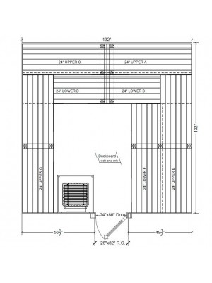 11x11 Clear White Aspen Custom Sauna Kit Layout Shown with RIGHT Hinge Sauna Door