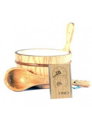 Wooden 1 Gallon Finnish Sauna Bucket, Matching Ladle, Thermometer/Hygrometer