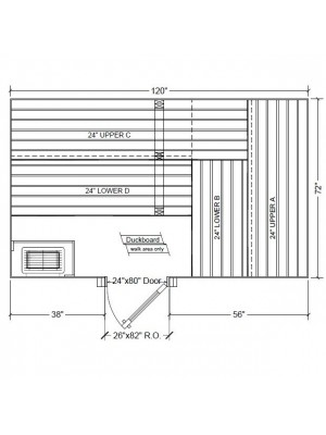 6x10 Clear Western Red Cedar Custom Sauna Kit Layout Shown with RIGHT Hinge Douglass Fir Sauna Door