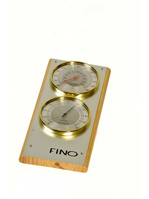 "Vertical 2 Dial 4"" Each Dial Stainless Steel Sauna Thermometer / Hygrometer (Side View)"