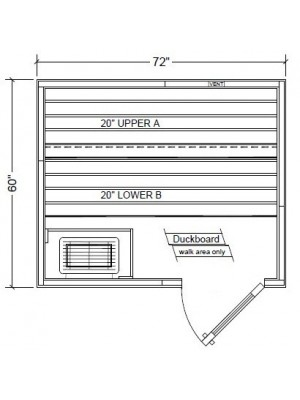 Outdoor PB56 Pre-Built Modular Sauna Layout (Shown with Right Hinge Door)