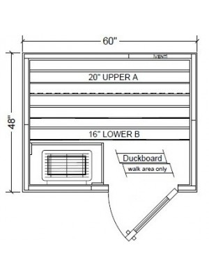 PB45 Pre-Built, Modular Sauna Room Layout  (Shown with Right Hinge Door)