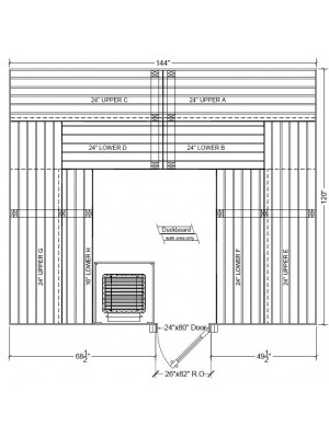 10x12 Clear Western Red Cedar Custom Sauna Kit Layout Shown with RIGHT Hinge Douglass Fir Sauna Door