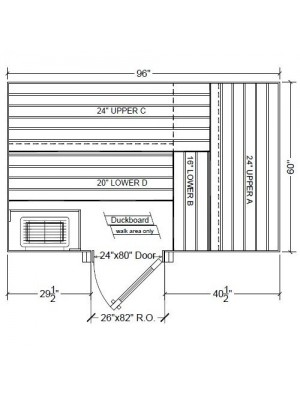 5x8 Clear Western Red Cedar Custom Sauna Kit Layout Shown with RIGHT Hinge Douglass Fir Sauna Door