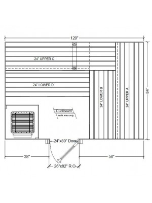 7x10 Clear Western Red Cedar Custom Sauna Kit Layout Shown with RIGHT Hinge Douglass Fir Sauna Door