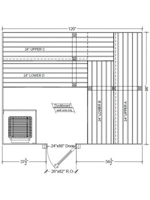 8x10 Clear Western Red Cedar Custom Sauna Kit Layout Shown with RIGHT Hinge Douglass Fir Sauna Door