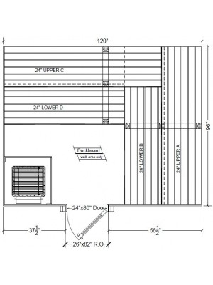 8x8 Clear White Aspen Custom Sauna Kit Layout Shown with RIGHT Hinge Sauna Door