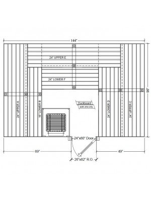 8x12 Clear White Aspen Custom Sauna Kit Layout Shown with RIGHT Hinge Sauna Door