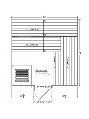 8x8 Clear Western Red Cedar Custom Sauna Kit Layout Shown with RIGHT Hinge Douglass Fir Sauna Door