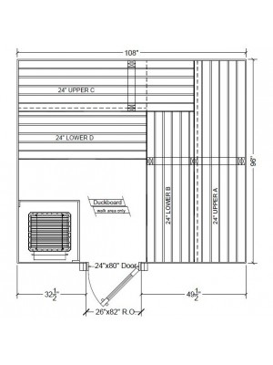 8x9 Clear Western Red Cedar Custom Sauna Kit Layout Shown with RIGHT Hinge Douglass Fir Sauna Door
