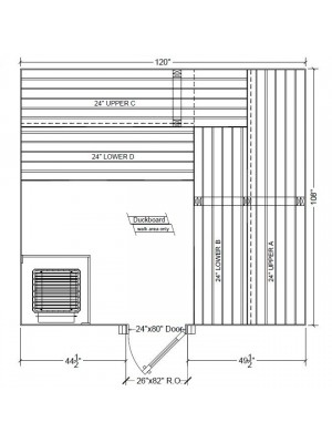 9x10 Clear Western Red Cedar Custom Sauna Kit Layout Shown with RIGHT Hinge Douglass Fir Sauna Door