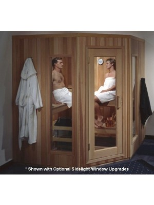 PB6.5C Pre-Built Corner 5-Sided Sauna with CLEAR Glass Douglass Fir Door (Shown with Left Hinge Door)