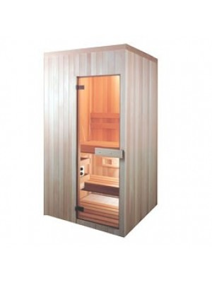 PB45 Pre-Built Sauna with All Glass BRONZED Tinted Door (Shown with Left Hinge Door)