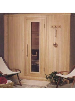 PB77 Pre-Built Sauna with CLEAR Glass Douglass Fir Door (Shown with Right Hinge Door)