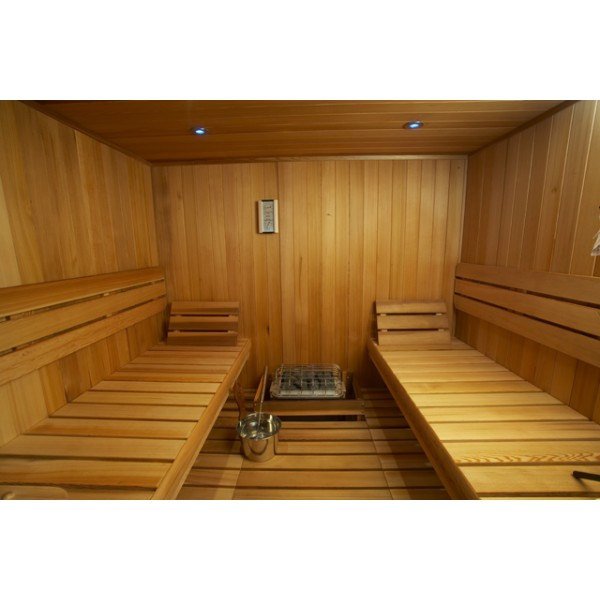 Clear Western Red Cedar Custom Sauna Kit with Optional Spectra LED Lighting System