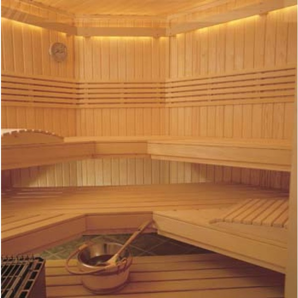 Large Commercial Clear Western Red Cedar Custom Sauna Kit with Optional Indirect LED Strip Lighting Package