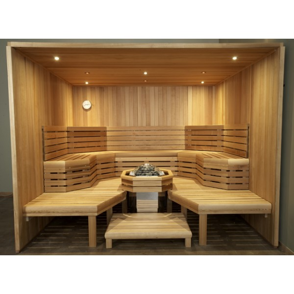 Large Commercial Clear Western Red Cedar Custom Sauna Kit with Optional Spectra LED Lighting System