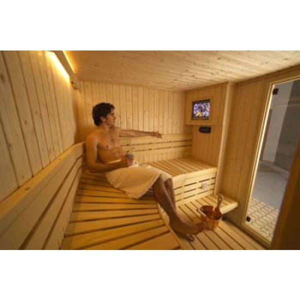 Custom Sauna Kit with Optional Heat Resistant Flat Screen Entertainment System and Indirect LED Strip Lighting Package