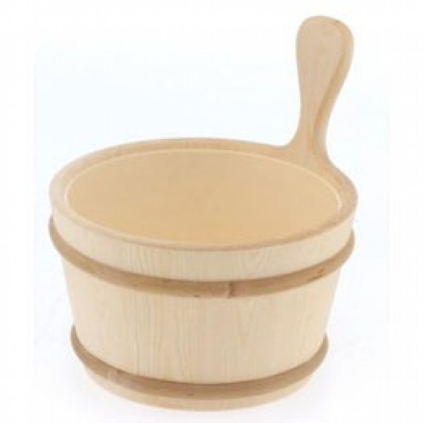 Wooden 1 Gallon Finnish Sauna Bucket with Clear Plastic Insert