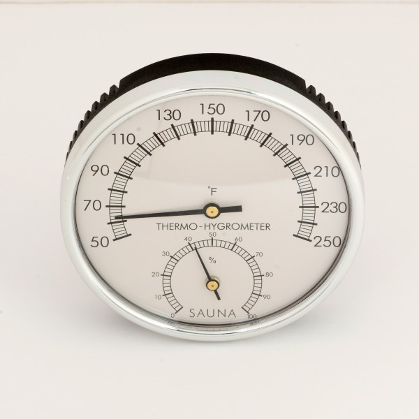 One Dial Stainless Steel Sauna Thermometer / Hygrometer Included