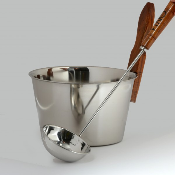 Luxury Finnish Sauna Bucket in Stainless Steel and Matching Sauna Ladle