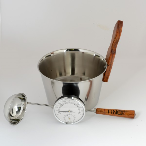 Luxury Finnish Sauna Bucket in Stainless Steel, Matching Ladle, Thermometer/Hygrometer