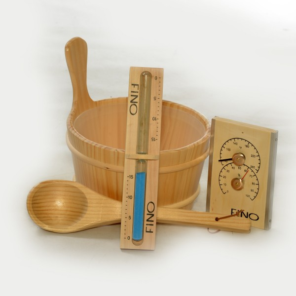 Finnish Sauna Bucket, Ladle, Thermometer / Hygrometer and Sand Timer Kit