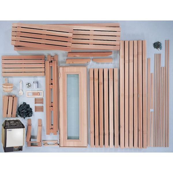 4x5 Select Grade, Vertical Grain Clear Western Red Cedar Custom Sauna Kit