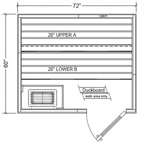 PB56 Pre-Built Modular Sauna Layout (Shown with Right Hinge Door)