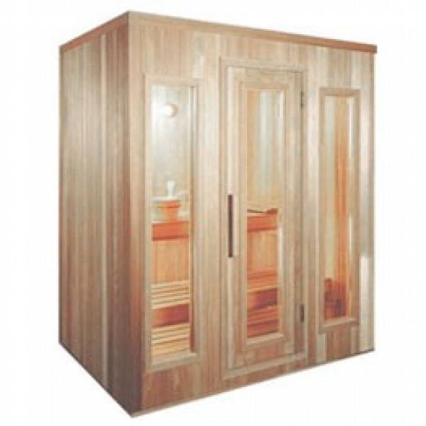 PB57 Pre-Built Sauna with CLEAR Glass Douglass Fir Door (Shown with Right Hinge Door and CLEAR Glass Windows)