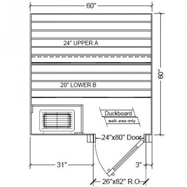 5x5 Clear White Aspen Custom Sauna Kit Layout Shown with RIGHT Hinge Sauna Door