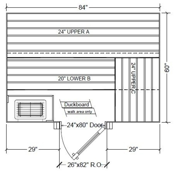5x7 Clear White Aspen Custom Sauna Kit Layout Shown with RIGHT Hinge Sauna Door