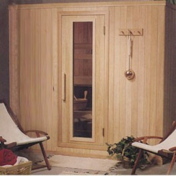 PB57 Pre-Built Sauna with CLEAR Glass Douglass Fir Door (Shown with Right Hinge Door)